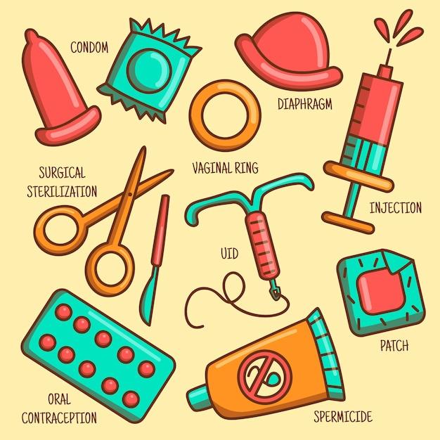 Verzameling van verschillende anticonceptiemethoden Gratis Vector