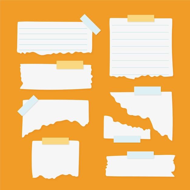 Verzameling van verschillende gescheurde papieren met plakband Gratis Vector
