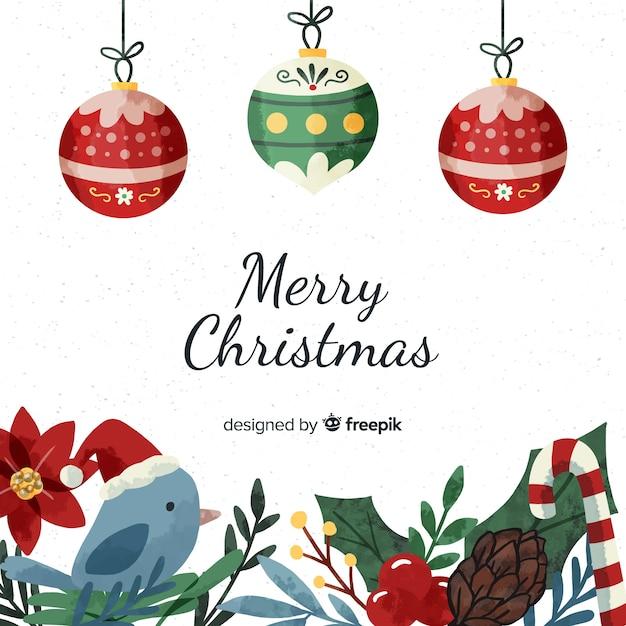 Verzameling van verschillende kerst elementen in aquarel stijl Gratis Vector