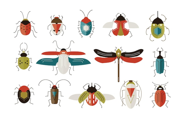 Verzameling van verschillende kleurrijke geometrische insecten met vleugels en antennes op wit Premium Vector