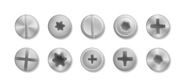 Verzameling van verschillende koppen van bouten, schroeven, spijkers, klinknagels. een set metallic glanzende schroeven en bouten om in je ontwerpen te gebruiken. uitzicht van boven. decoratieve elementen voor uw ontwerp. illustratio Premium Vector