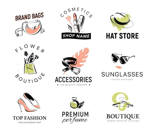 Verzameling van verschillende modieuze dame-logo voor accessoires en kledingwinkel Premium Vector