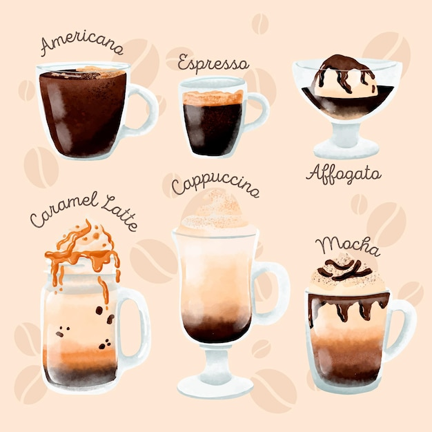 Verzameling van verschillende soorten koffie Gratis Vector