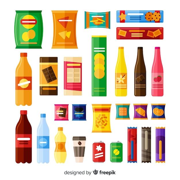 Verzameling van verschillende soorten snacks Gratis Vector