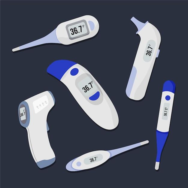 Verzameling van verschillende soorten thermometers Gratis Vector