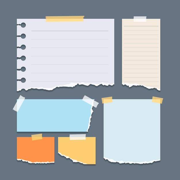 Verzameling van verschillende vormen gescheurd papier met plakband Premium Vector