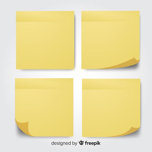 Verzameling van vier berichtnota's in realistische stijl Gratis Vector