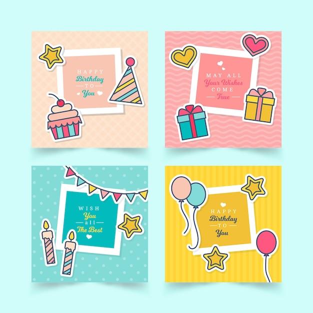 Verzameling van vier kleurrijke verjaardagskaarten Gratis Vector