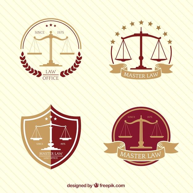 Verzameling van vier logo's met schaal in plat ontwerp Gratis Vector