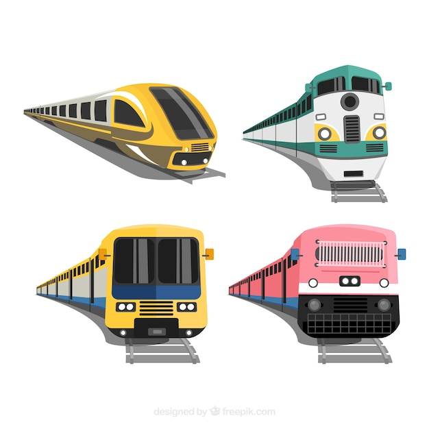 Verzameling van vier moderne treinen Gratis Vector
