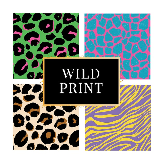 Verzameling van vier verschillende achtergronden met wilde dierenprint Premium Vector