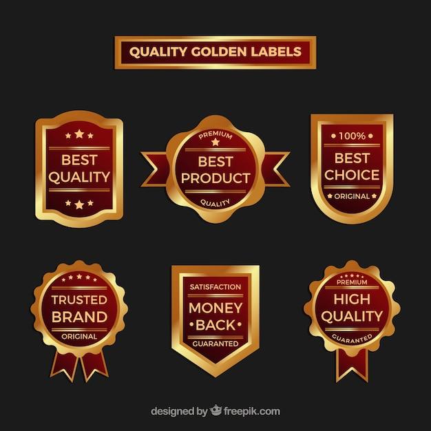 Verzameling van vintage premium gouden stickers Gratis Vector