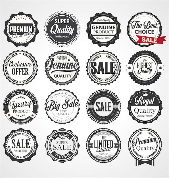 Verzameling van vintage retro premium kwaliteit badges en etiketten Premium Vector
