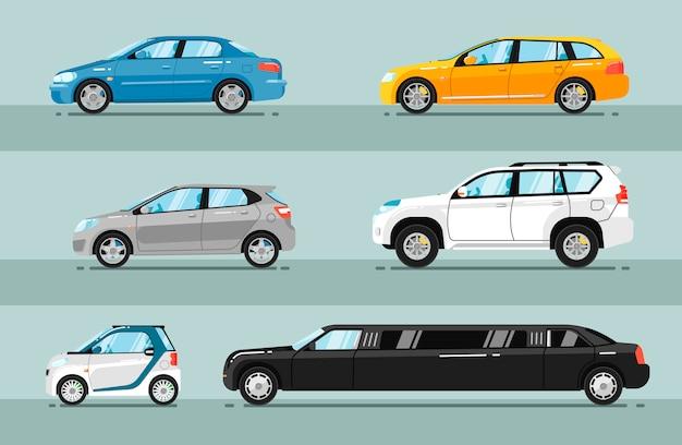 Verzameling van vlakke auto's voor personenauto's Premium Vector