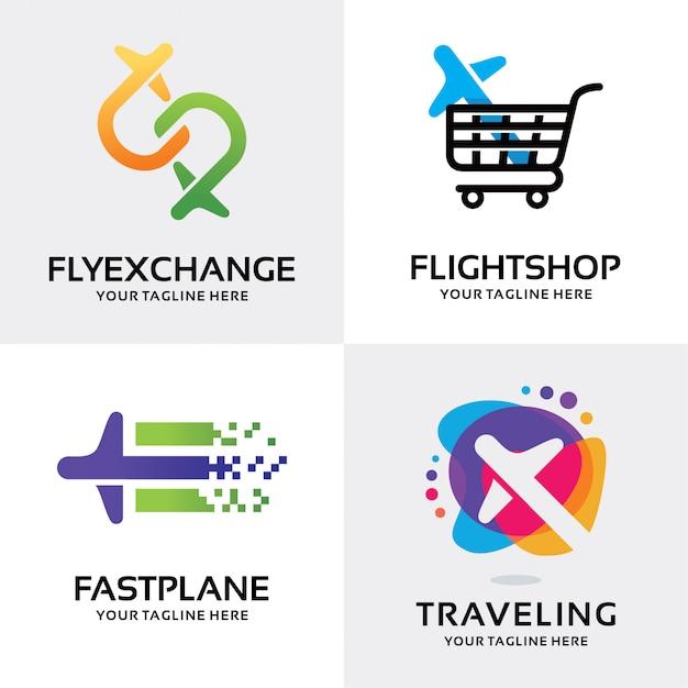 Verzameling van vliegtuig logo set ontwerpsjabloon Premium Vector