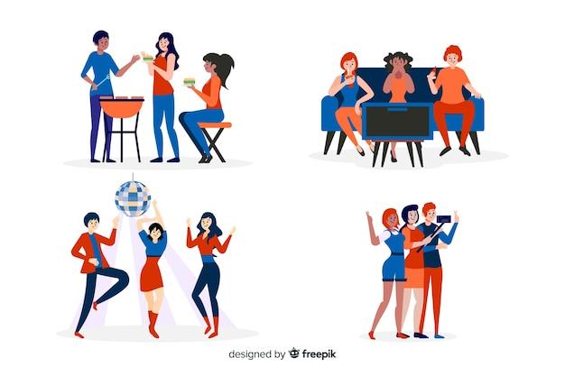 Verzameling van vrienden tijd samen doorbrengen Gratis Vector