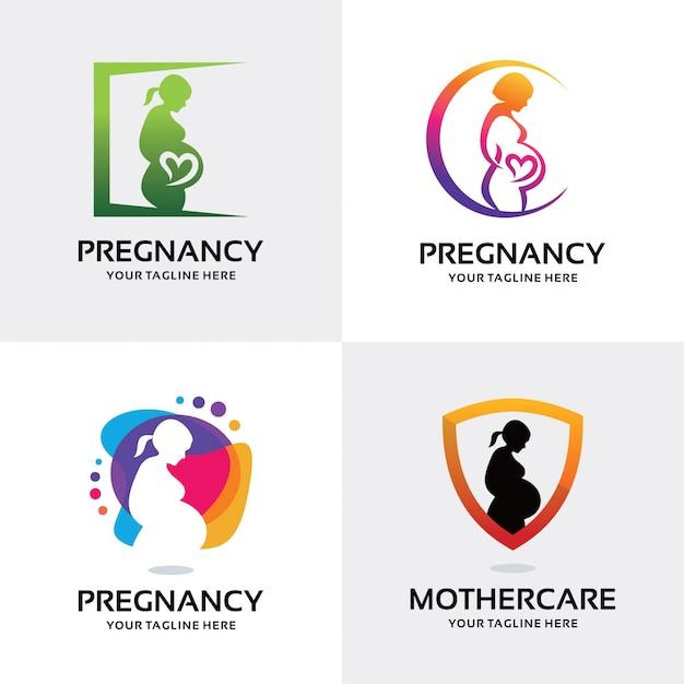 Verzameling van vrouw zwangere logo set ontwerpsjabloon Premium Vector