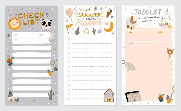 Verzameling van wekelijkse of dagelijkse planner, notitiepapier, takenlijst, stickersjablonen versierd met schattige kinderillustraties en inspirerende citaten. schoolplanner en organisator. Premium Vector