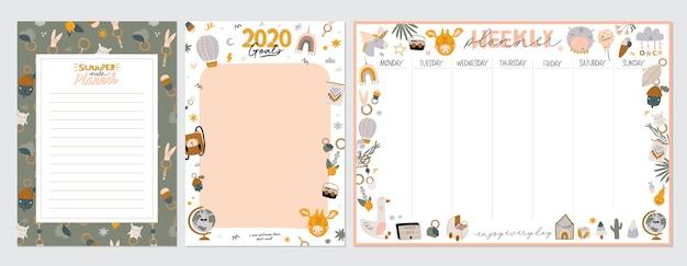 Verzameling van wekelijkse of dagelijkse planner, notitiepapier, takenlijst, stickersjablonen versierd met schattige kinderillustraties en inspirerende citaten. Premium Vector