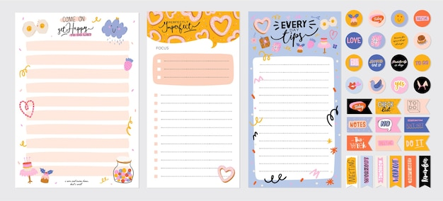 Verzameling van wekelijkse of dagelijkse planner, notitiepapier, takenlijst, stickersjablonen versierd met schattige liefdesillustraties en inspirerende citaten. schoolplanner en organisator. Premium Vector