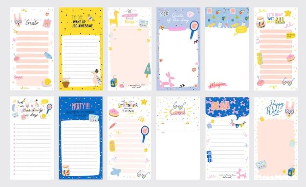 Verzameling van wekelijkse of dagelijkse planner, notitiepapier, takenlijst, stickersjablonen versierd met schattige liefdesillustraties Premium Vector