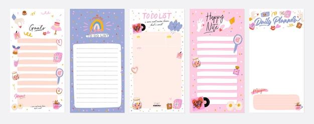 Verzameling van wekelijkse of dagelijkse planner, notitiepapier, takenlijst, versierde stickersjablonen Premium Vector