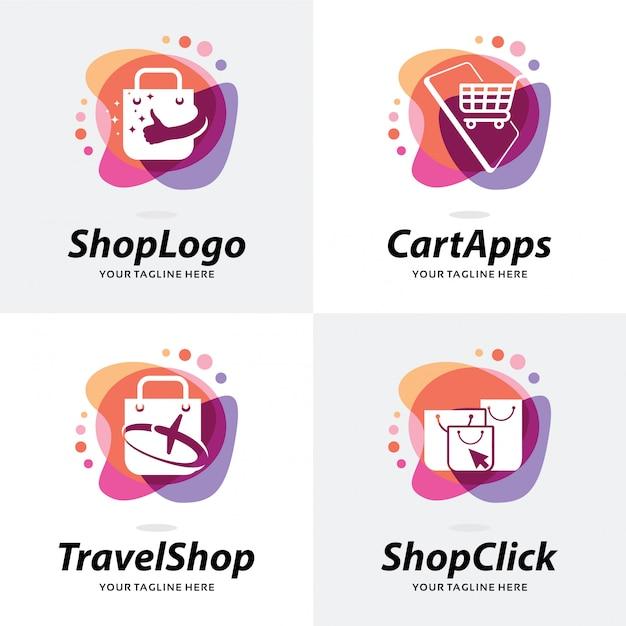 Verzameling van winkel logo sjabloonontwerp Premium Vector
