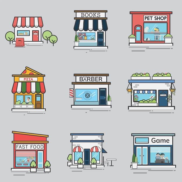 Verzameling van winkels en winkels Gratis Vector