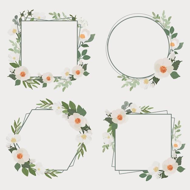 Verzameling van witte camellia bloemboeket frame Premium Vector