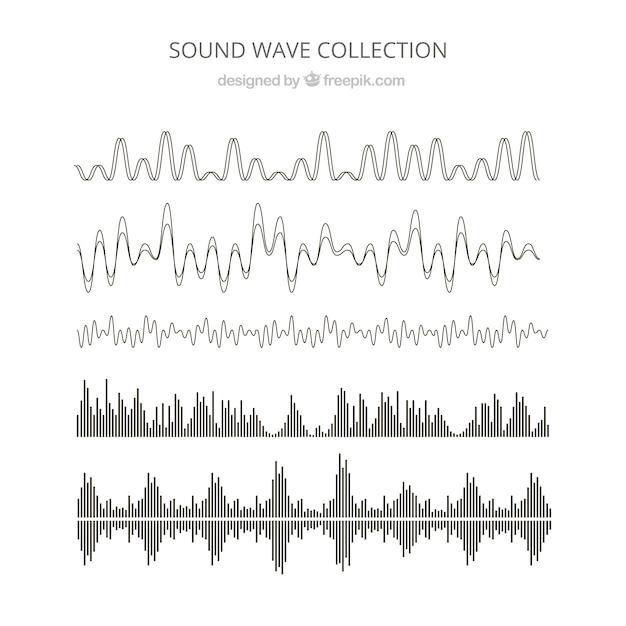Verzameling van zes abstracte geluidsgolven Gratis Vector
