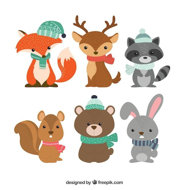 Verzameling van zes winterdieren Gratis Vector