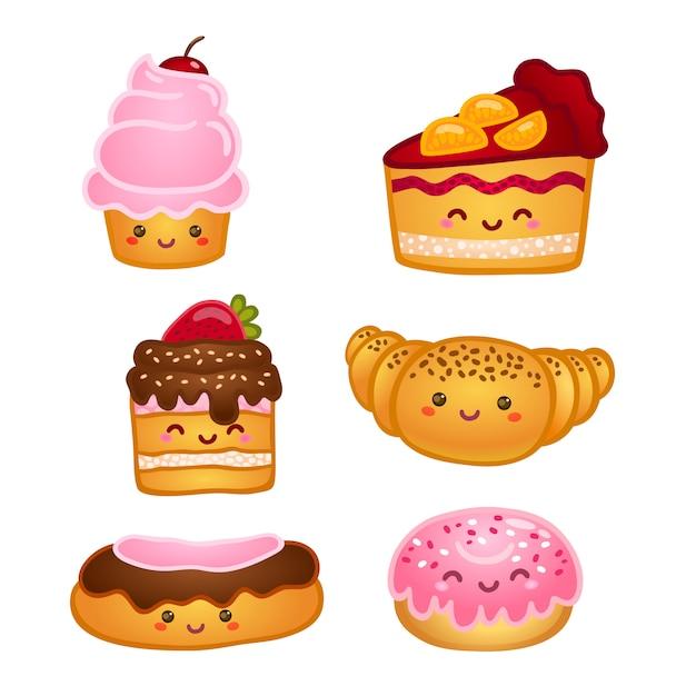 Verzameling van zoete gebakjes Gratis Vector