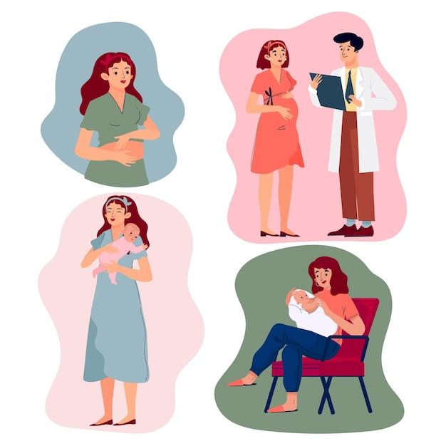 Verzameling van zwangerschaps- en kraamscènes Gratis Vector