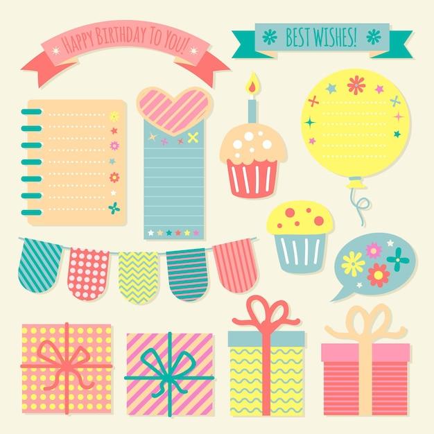 Verzameling verjaardag decoratieve plakboekelementen Gratis Vector