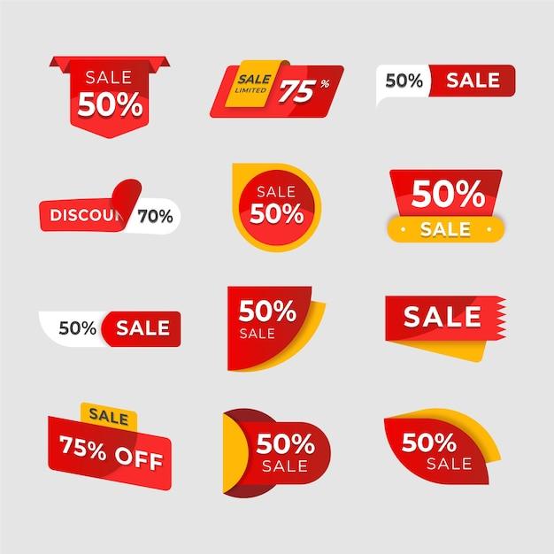 Verzameling verkoopetiketten Gratis Vector