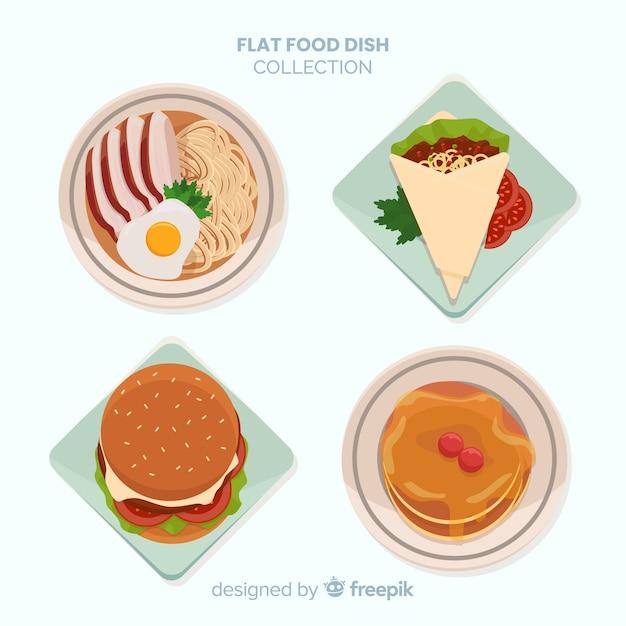 Verzameling voedsel gerechten Gratis Vector
