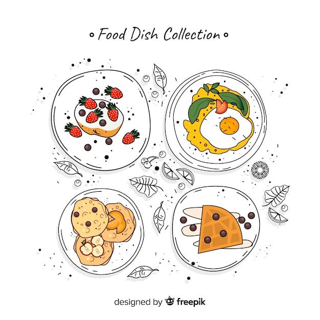 Verzameling voedselschotels Gratis Vector