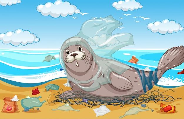 Verzegel met plastic net en zakken op het strand Premium Vector