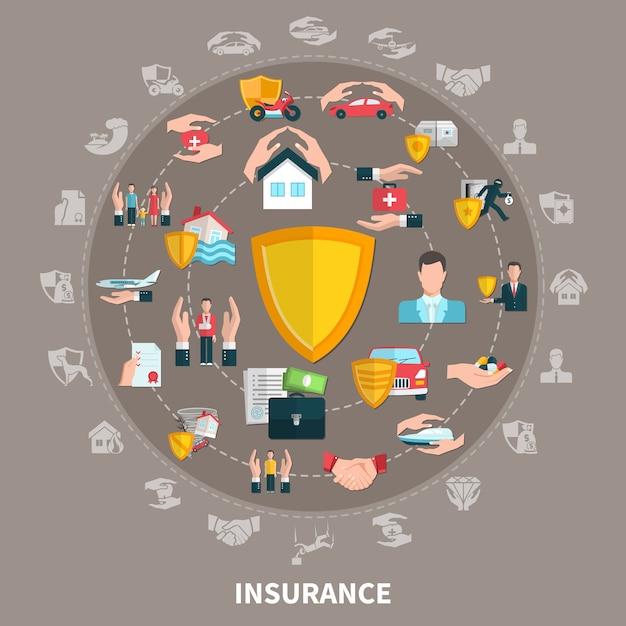 Verzekering van zaken, gezondheid, reizen, eigendommen en transport, ronde samenstelling op grijsbruine achtergrond Gratis Vector