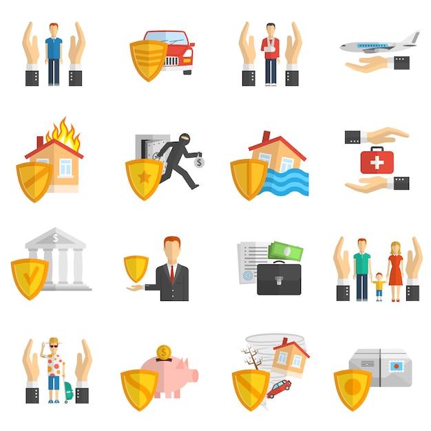 Verzekering veelkleurige platte pictogramserie Gratis Vector