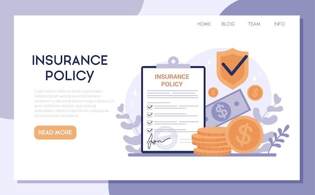 Verzekering webbanner. idee van veiligheid en bescherming van eigendom en leven tegen schade. reis- en zakelijke veiligheid. Premium Vector