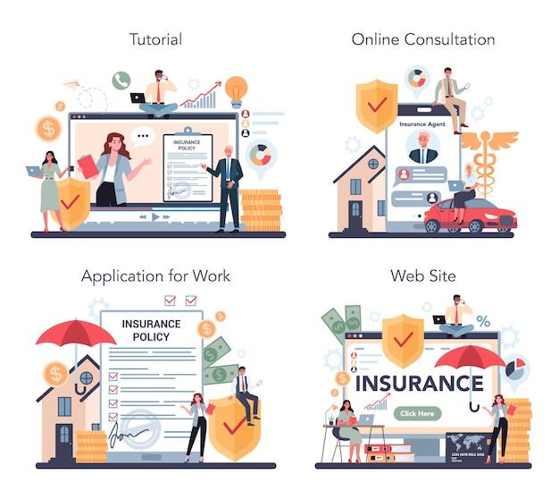 Verzekeringsagent online service of platform ingesteld Premium Vector