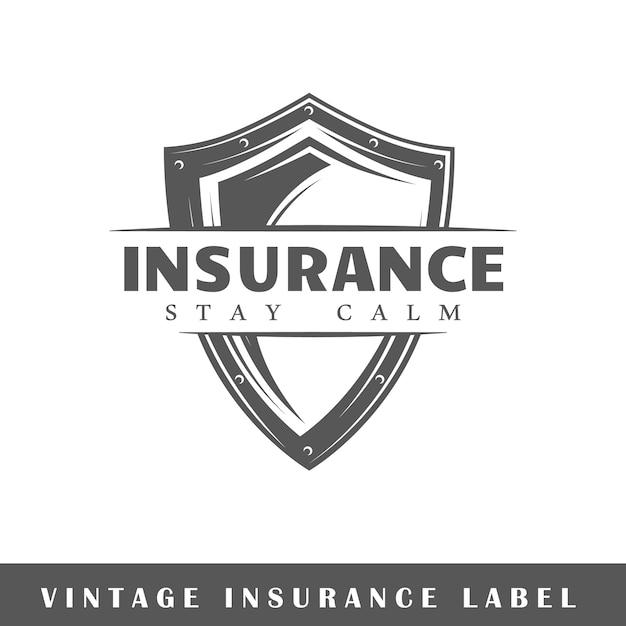 Verzekeringsetiket op witte achtergrond. element. sjabloon voor logo, bewegwijzering, huisstijl. illustratie Premium Vector