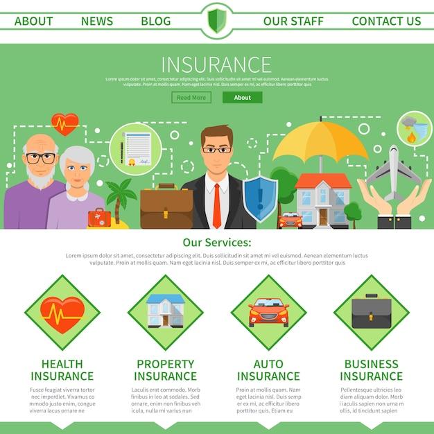 Verzekeringsmaatschappij one page flat design Gratis Vector