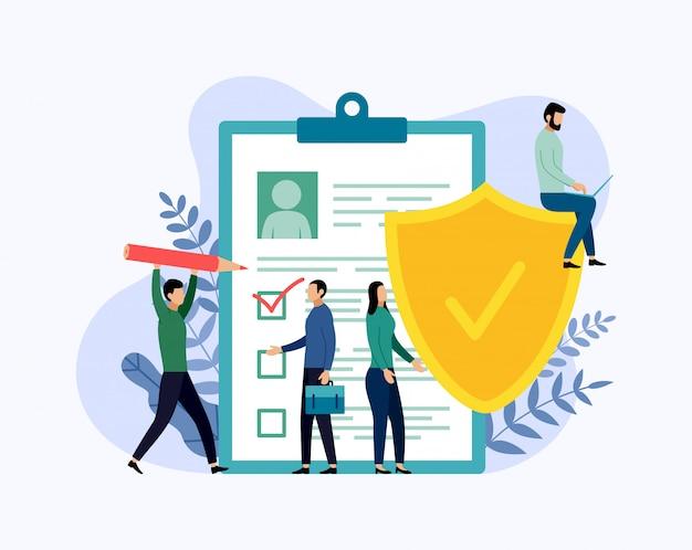 Verzekeringspolis, gegevensbeveiliging, zaken Premium Vector