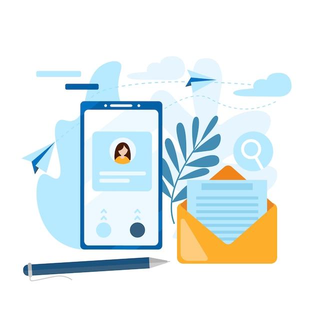 Verzend e-mail. concept van de oproep, adresboek, notaboek. neem contact op met ons pictogram. Premium Vector