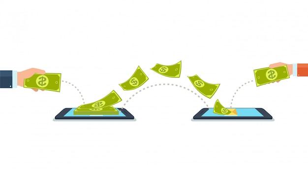 Verzend en ontvang geld met mobiele telefoons, gadgets. Premium Vector