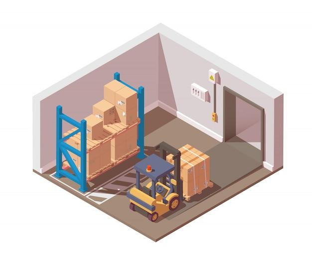 Verzending van goederen wordt uitgevoerd met een vorkheftruck vanuit het magazijn. Premium Vector