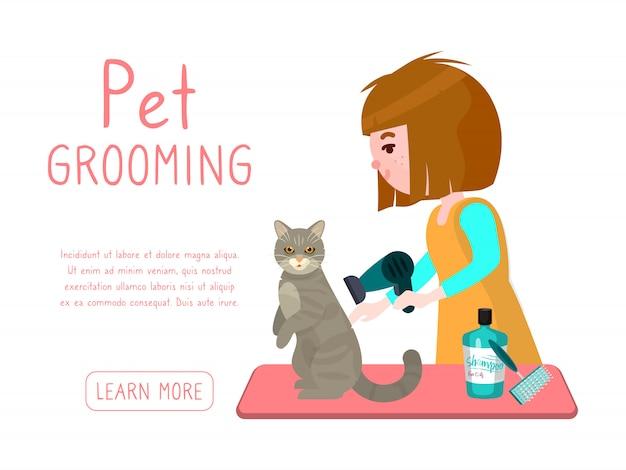 Verzorging van huisdieren. groomermeisje droogt kat na het wassen. reclamebanner van trimsalon voor huisdieren. Premium Vector
