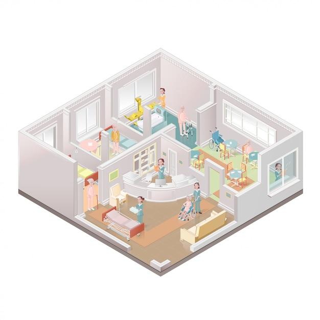Verzorgingstehuis. faciliteit voor begeleid wonen. illustratie Premium Vector